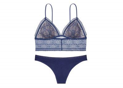 Victoria's Secret Podprsenka Bralet + Kalhotky Tanga (Ink Blot)