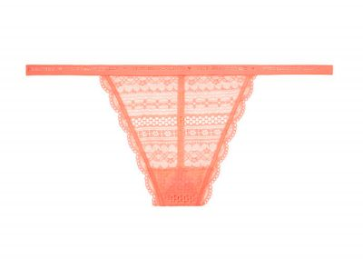 Victoria's Secret kalhotky V-string Cotton Lingerie Lace (Hot Peach)