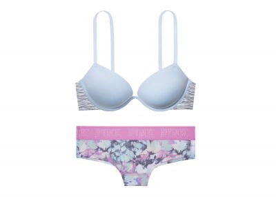 Victoria's Secret Pink Podprsenka + Kalhotky Cheekster (Light Blue)