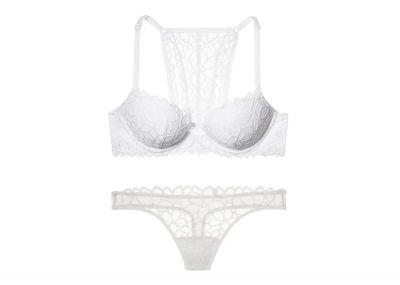 Victoria's Secret PINK Podprsenka Date + Kalhotky Tanga (White)
