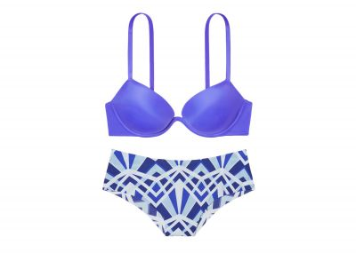 Podprsenka Victorias Secret Pink Super Push-up a kalhotky Brazilky (Mattise Blue)