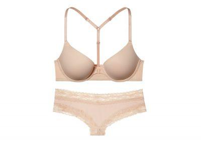 Victoria's Secret PINK podprsenka Racerback Push-up + kalhotky Cheeky (Nude)