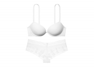 Victoria's Secret Podprsenka Push-up Sexy Tee + Kalhotky Cheeky (Triumph White)
