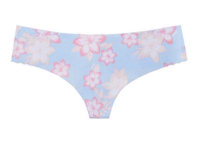 Victoria's Secret Pink kalhotky Tanga No-show (Blue Floral)