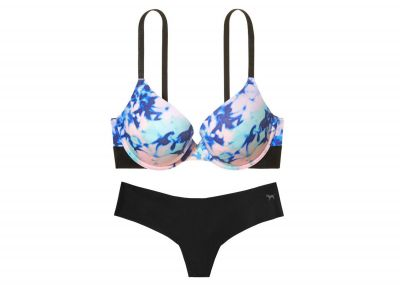 Victoria's Secret PINK podprsenka Push-up + kalhotky Tanga (Tie Dye/Black)
