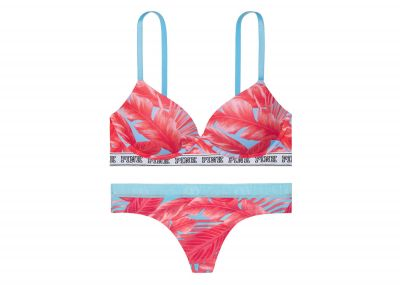 Victoria's Secret PINK podprsenka Push-up Wireless + kalhotky Tanga (Palm Print)