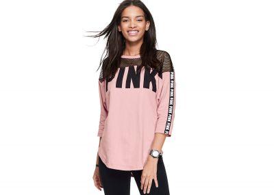 Victoria's Secret Pink Mesh Boyfriend Jersey (Pink)