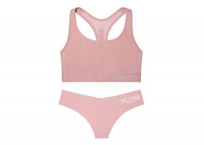 Victoria's Secret sportovní podprsenka + kalhotky Tanga (Pink Lily)