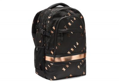 Victoria's Secret Pink Collegiate Backpack (Black Gold Logo)