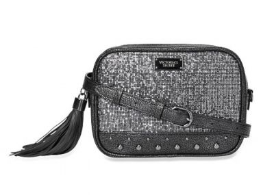 Victoria's Secret kabelka Glitter Mesh Crossbody Belt Bag (Gun Metal)