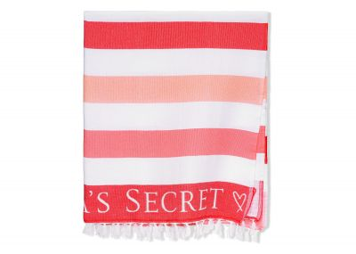 Victoria's Secret plážová deka (Red/Pink Stripe)