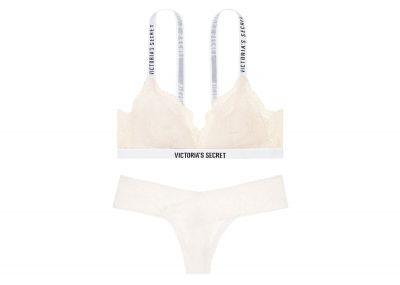 Victoria's Secret podprsenka Bralet + kalhotky Tanga Lace (Coconut White)
