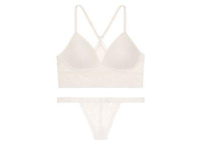 Victoria's Secret podprsenka Bralet + kalhotky V-string Lace (Coconut White)