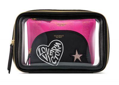 Victoria's Secret trio kosmetických taštiček (Black Patch)