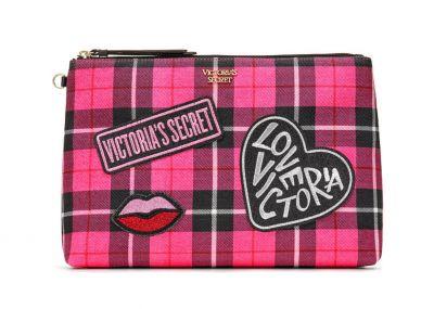 Victoria's Secret velká kosmetická taštička/psaníčko (Pink Plaid)