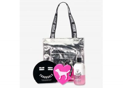 Victoria's Secret Pink Sada - kabelka, maska, sprcháč, mycí houba (Silver Coco)