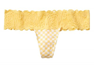 Kalhotky Tanga Victorias Secret Pink Lace Trim (Yellow)