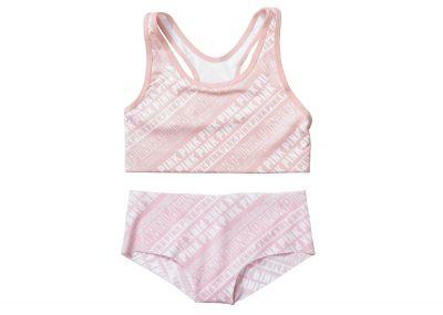 Victoria's Secret Pink sportovní podprsenka Racerback + kalhotky Hipster (Light Pink Logo)