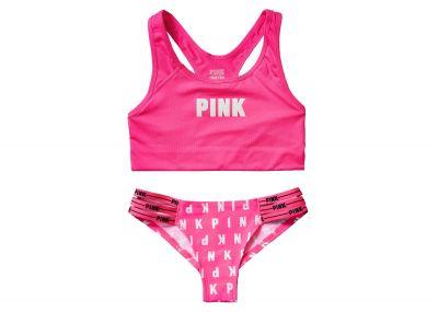 Victoria's Secret Pink sportovní podprsenka Racerback + kalhotky Cheeky (Pink)