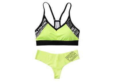 Victoria's Secret Pink sportovní podprsenka Ultimate + kalhotky Tanga (Lemon Logo)