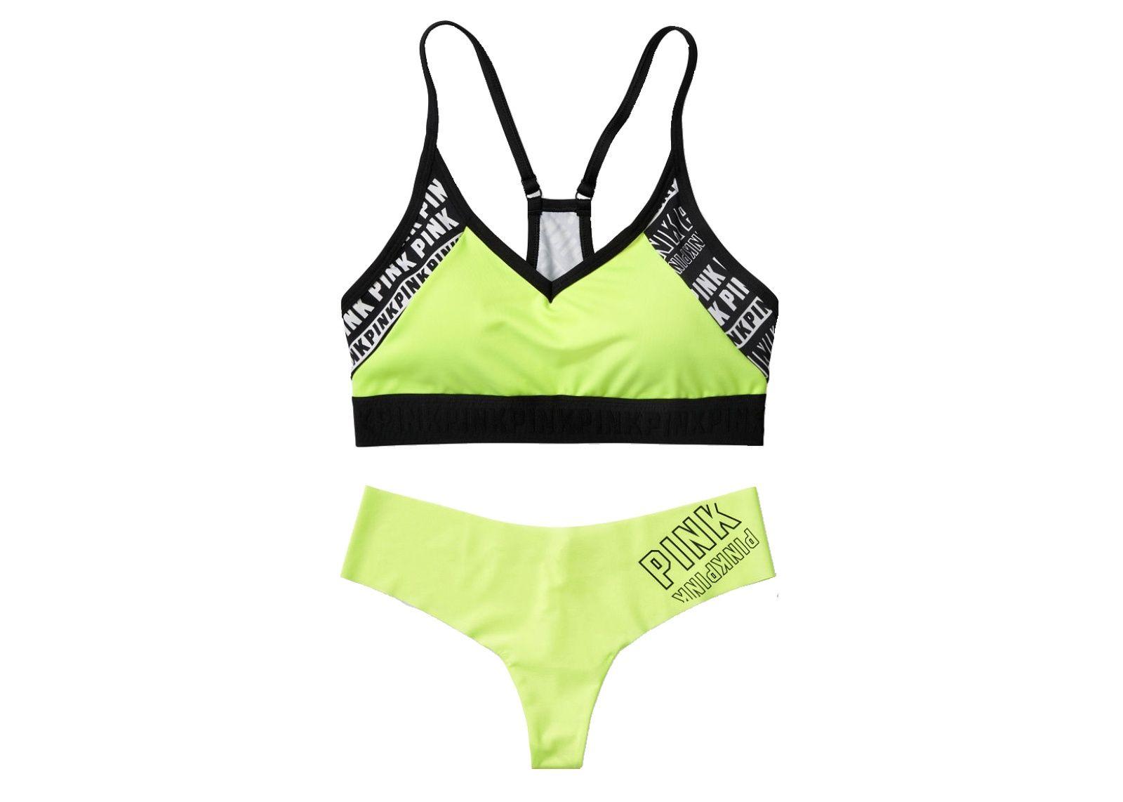 12b6a1a3d22 Victoria s Secret Pink sportovní podprsenka Ultimate + kalhotky Tanga  (Lemon Logo)