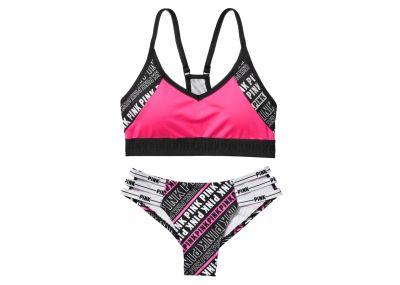 Victoria's Secret Pink sportovní podprsenka Ultimate + kalhotky Cheeky (Pink Logo)
