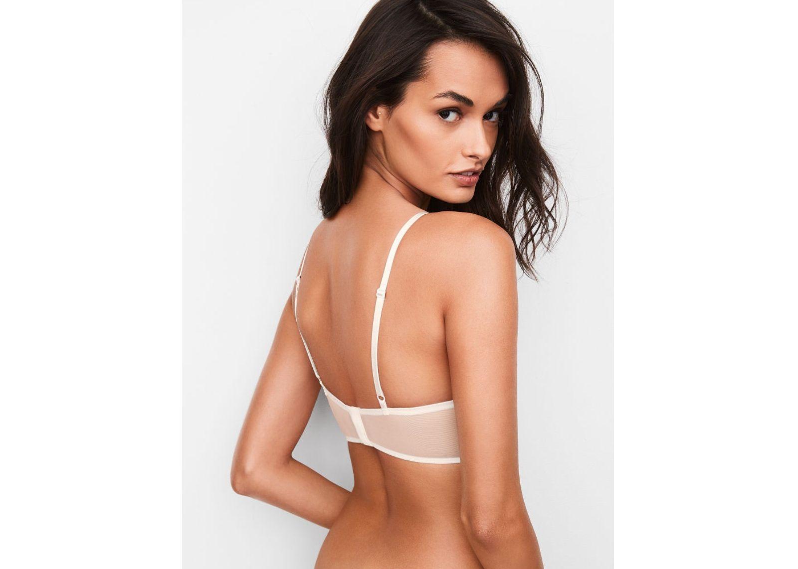 5e84b077813 Victoria s Secret podprsenka Bralet Satin + kalhotky Cheeky (White)