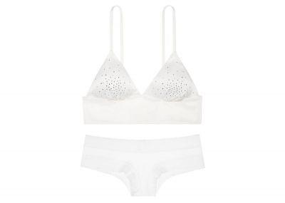 Victoria's Secret podprsenka Bralet Satin + kalhotky Cheeky (White)
