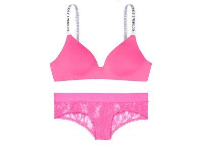 Victoria's Secret podprsenka Wireless Logo + kalhotky Cheeky (Gossip Pink)