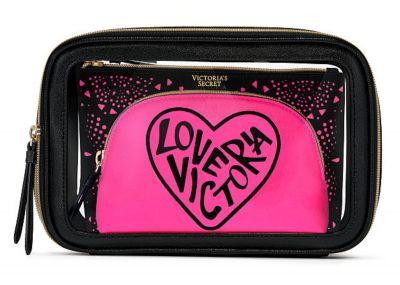 Trio kosmetických taštiček Victorias Secret (Black/Pink)