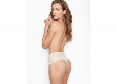 Kalhotky Tanga Victorias Secret Lacie Wide-Waistband (Coconut White)