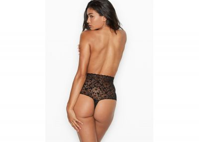 Kalhotky Tanga Victorias Secret Raw-cut Mesh High-waist (Black)