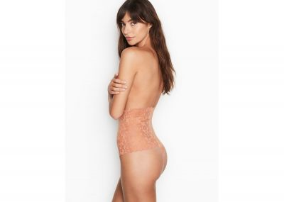 Kalhotky Tanga Victorias Secret Raw-cut Mesh High-waist (Rose Clay)