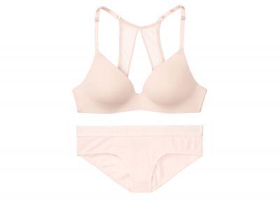 Podprsenka Victorias Secret Wireless + kalhotky Hipster Logo (Pink Fizz)