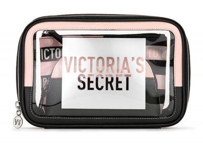 Trio kosmetických taštiček Victorias Secret (Black/Pink stripe)