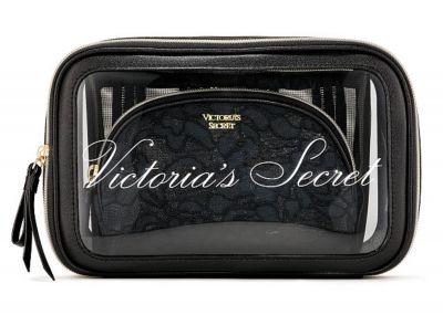 Trio kosmetických taštiček Victorias Secret (Black Lace)