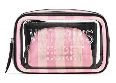 Trio kosmetických taštiček Victorias Secret (Pink Stripe)