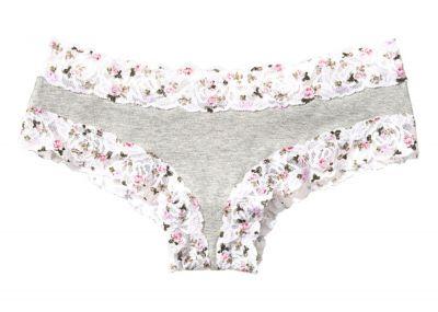 Victoria's Secret Pink kalhotky Cheekster Cotton (Grey Floral)