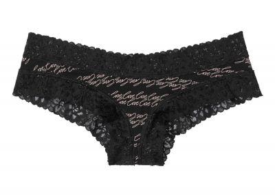 Kalhotky Victorias Secret střih Brazilky Cotton Lace (Black Love)